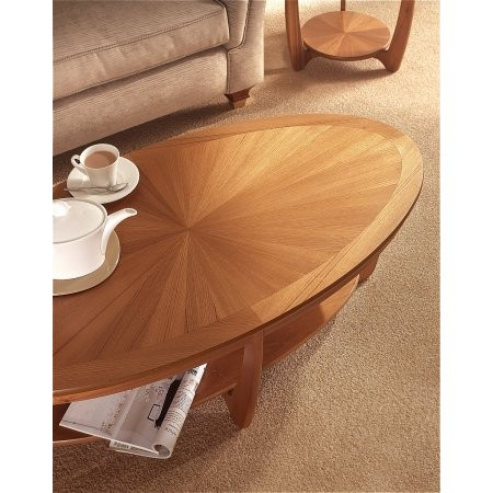 Nathan - Shades Teak Sunburst Top Oval Coffee Table